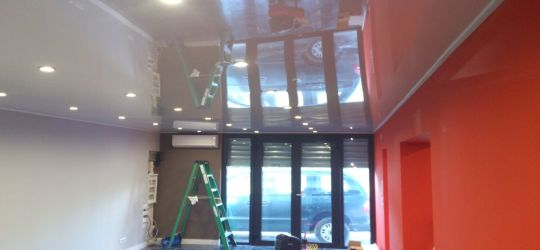 DIY stretch ceiling canvas fabric membrane below concrete