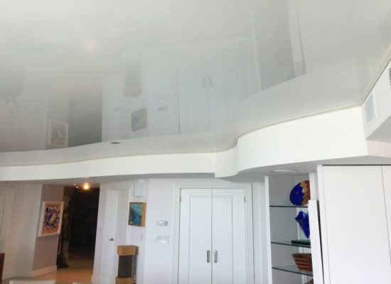 Fabric Vinyl ceiling suspended reflective Stretch Ceiling system glossy before after